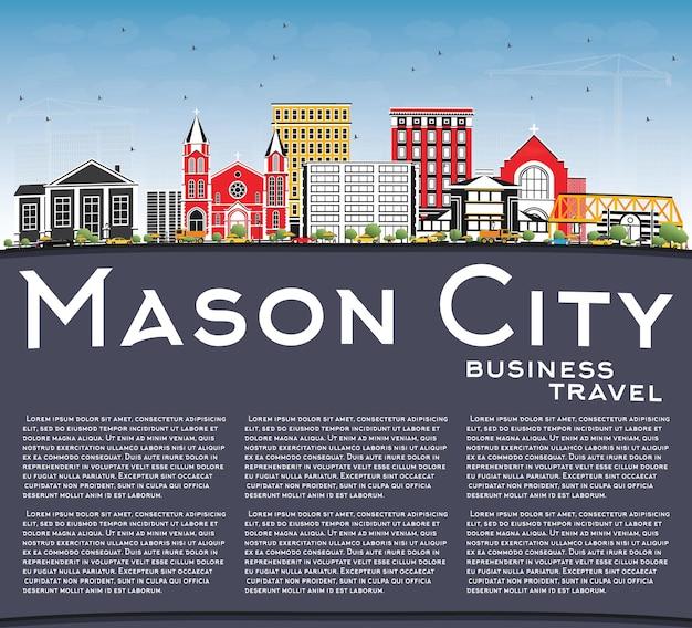 Mason city iowa skyline met kleur gebouwen, blauwe lucht en kopie ruimte. vectorillustratie. zakelijke reizen en toerisme illustratie met historische architectuur.