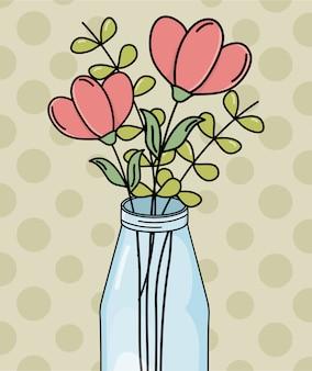Mason jar bloemen gebladerte decoratie stippen achtergrond
