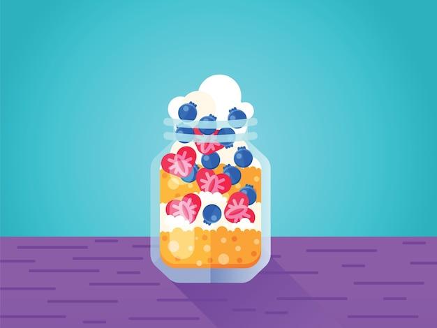 Mason jar dessert met ijs koekje en aardbei met bosbes