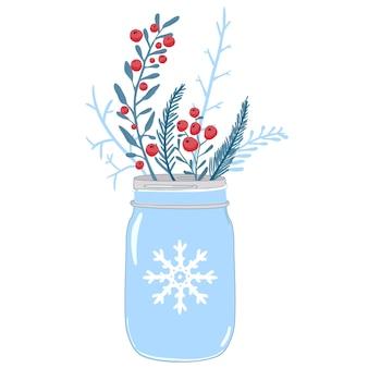 Mason jar en wintersamenstelling van rode bessenhulst en takken van dennenkerstkaartvector