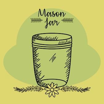 Mason jar glazen met deksel en bloemen tekenen