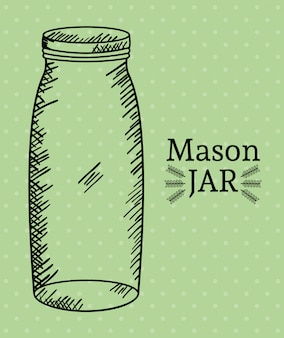 Mason jar tekening art