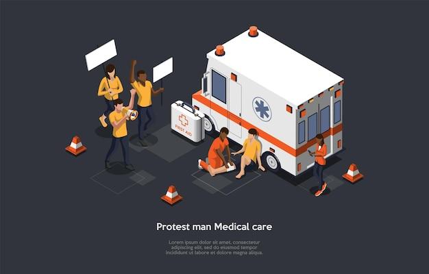 Massa-actie protestconcept. Premium Vector