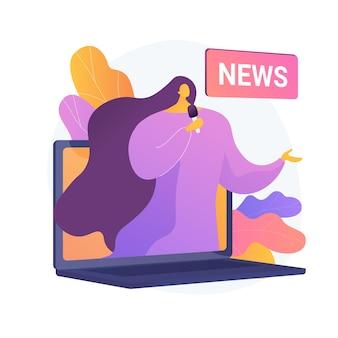 Massa media. verslaggever stripfiguur. dagelijks nieuws, uitzendingen, online pers, internetjournalistiek. sociale media concept. correspondent, journalist. vector geïsoleerde concept metafoor illustratie