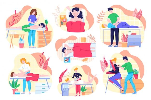 Massage gezondheidszorg procedure mensen beauty spa, gezonde levensstijl karakters, ontspanning en lichaamstherapie set illustraties.