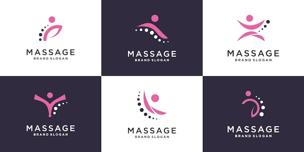 Massage-logo-collectie met creatief element premium vector