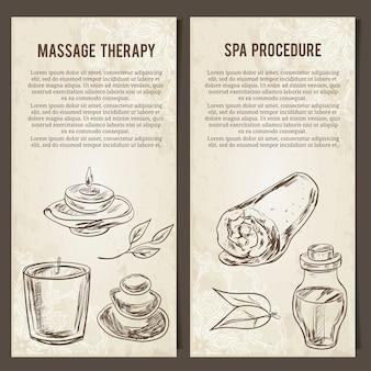 Massage-, spa- en ontspanningsprocedure. set kaarten sjabloon. hand getekende elementen.