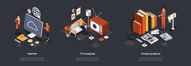 Massamedia concept. een reeks afbeeldingen met mensen die internet, wifi, tv-uitzendingen en gedrukte edities gebruiken. verspreiding van informatie in online sociale netwerken.
