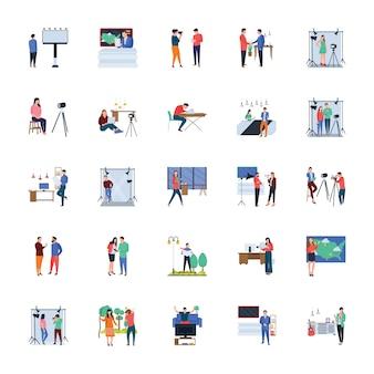 Massamedia en journalisten platte illustraties-pakket