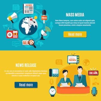 Massamedia en nieuws release horizontale banner set