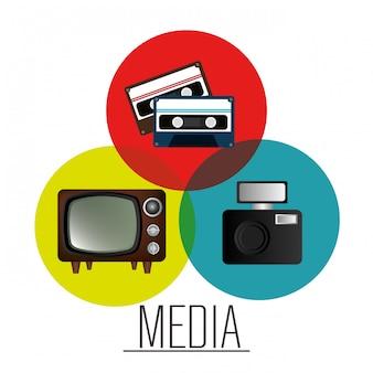 Massamedia nieuwsafbeelding Gratis Vector