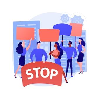 Massaprotest abstract concept vectorillustratie. demonstratie, gewelddadige rellen, sociale beweging, politieke rechten, raciale gelijkheid, wetshandhaving, politieke activist, abstracte metafoor voor democratie.
