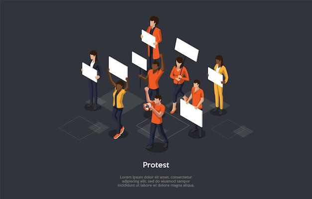 Massaprotest actieconcept. Premium Vector