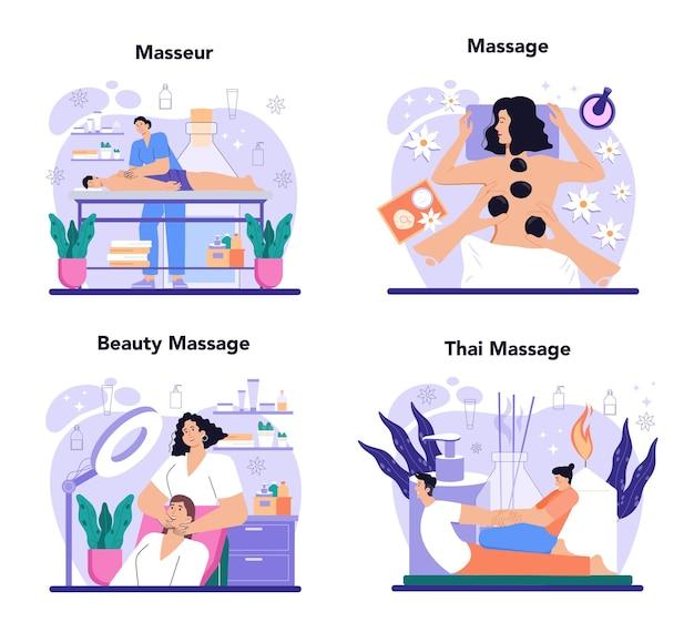 Masseur concept set spa procedure in schoonheidssalon massage terug