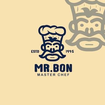 Master chef-kok logo-ontwerpsjabloon, chef-kok koken hoed logo-ontwerp. keuken chef-kok ontwerpsjabloon logo.