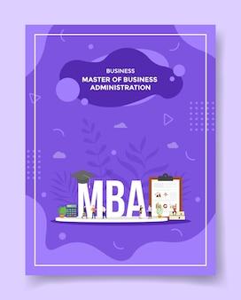 Master of business administration concept mensen rond woord mba hoed rekenmachine klembord grafiek boek hoed voor sjabloon