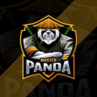 Master panda mascotte logo esports ontwerpsjabloon