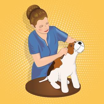 Master salon voor dieren die de hond trimmen.