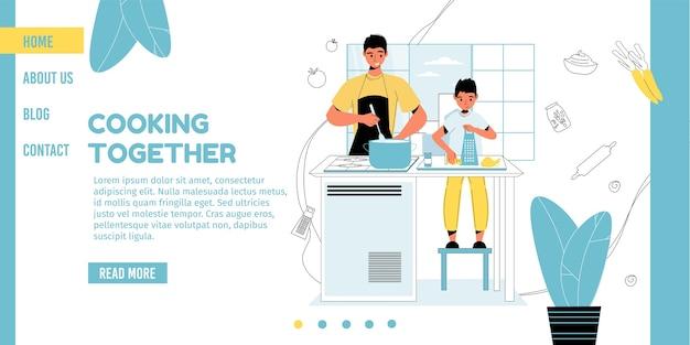 Masterclass koken voor kinderen. gelukkige jongen zoon vader diner lunch samen voorbereiden.