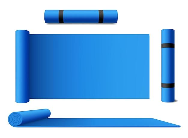Mat yoga gerold tapijt, blauwe geïsoleerde sport oefeningsmatras. mat van yoga meditatie, pilates en stretching training, gym en fitness accessoire, blauw opgerold mat tapijt met hengsels