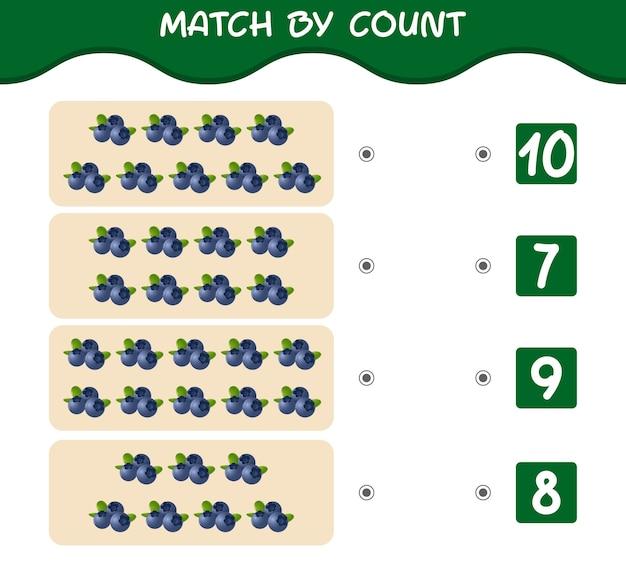 Match by count van cartoon bosbessen match and count game educatief spel voor pre-schooljaren kinderen en peuters