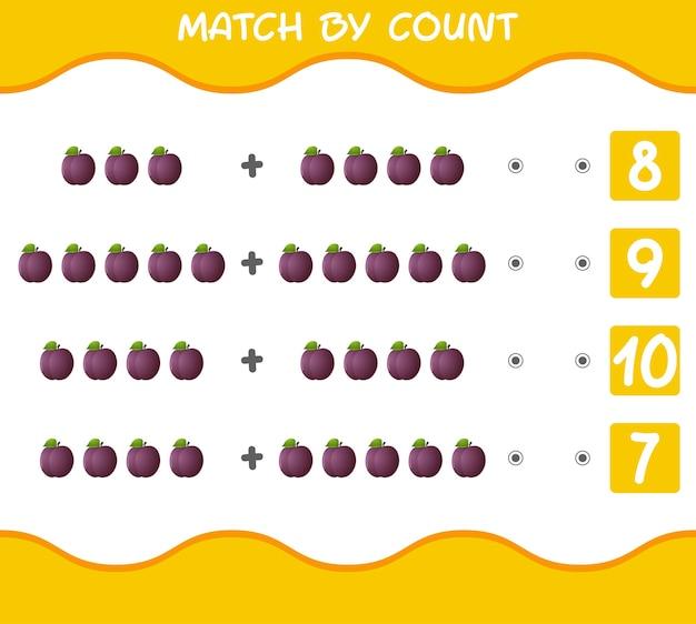 Match by count van cartoon pruimen educatief spel