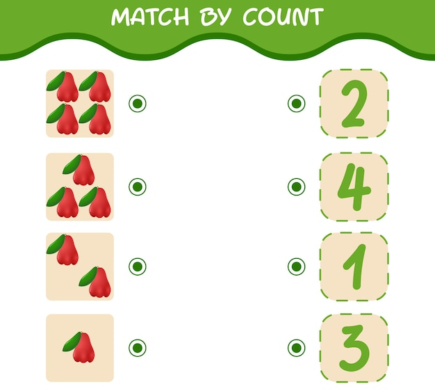 Match by count van cartoon rose appels. match en tel het spel. educatief spel voor kleuters en kleuters