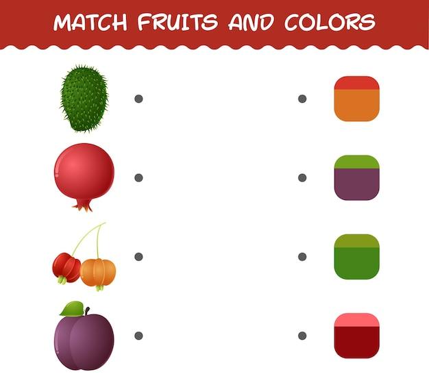 Match cartoon fruit en kleuren. bijpassende game. educatief spel voor kleuters en kleuters