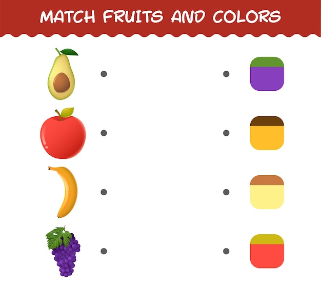 Match cartoon fruit en kleuren
