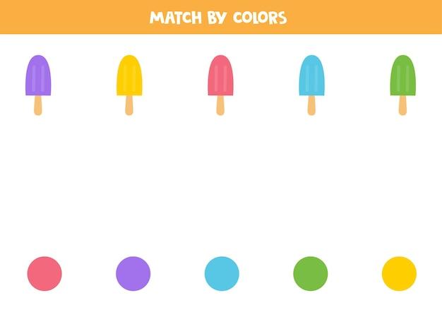 Match cartoon-ijs op kleuren. educatief logisch spel voor kinderen.