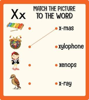 Match de afbeelding met het woord werkblad voor kinderen Gratis Vector