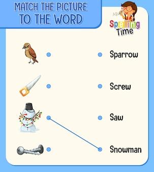 Match de afbeelding met het woord werkblad voor kinderen