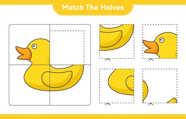 Match de helften match de helften van rubber duck educatief kinderspel afdrukbaar werkblad