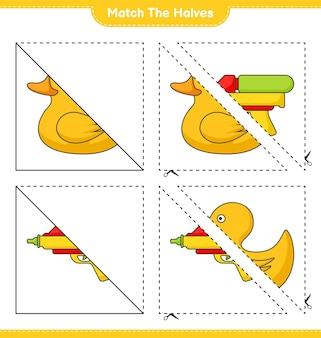 Match de helften match de helften van rubber duck en water gun educatief kinderspel