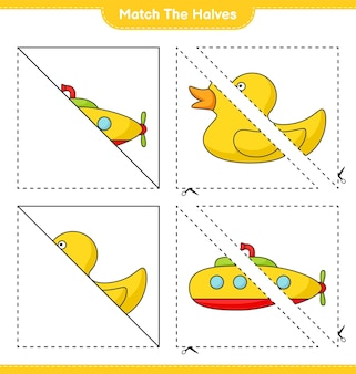 Match de helften match de helften van submarine en rubber duck educatief kinderspel