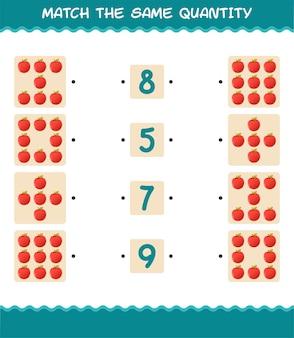 Match dezelfde hoeveelheid appel. spel tellen. educatief spel voor kleuters en kleuters