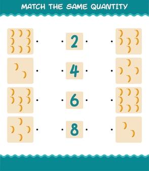 Match dezelfde hoeveelheid banaan. spel tellen. educatief spel voor kleuters en kleuters