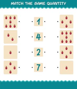 Match dezelfde hoeveelheid drakenfruit. spel tellen. educatief spel voor kleuters en kleuters