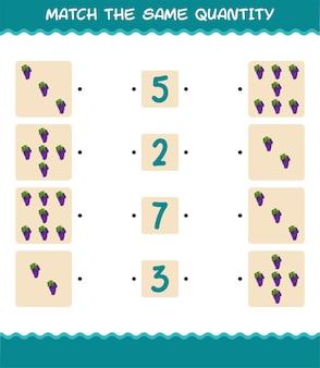 Match dezelfde hoeveelheid druiven. spel tellen. educatief spel voor kleuters en kleuters