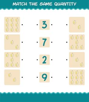Match dezelfde hoeveelheid durian. spel tellen. educatief spel voor kleuters en kleuters