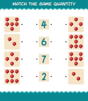 Match dezelfde hoeveelheid granaatappel. spel tellen. educatief spel voor kleuters en kleuters