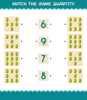 Match dezelfde hoeveelheid jackfruit. spel tellen. educatief spel voor kleuters en kleuters