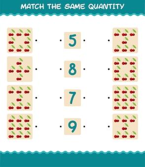 Match dezelfde hoeveelheid kersen. spel tellen. educatief spel voor kleuters en kleuters