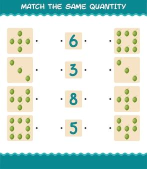 Match dezelfde hoeveelheid kokos. spel tellen. educatief spel voor kleuters en kleuters