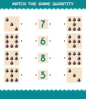Match dezelfde hoeveelheid vijgen. spel tellen. educatief spel voor kleuters en kleuters