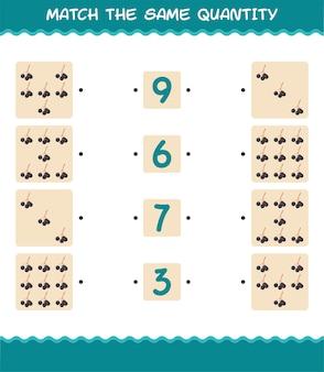 Match dezelfde hoeveelheid vlierbessen. spel tellen. educatief spel voor kleuters en kleuters