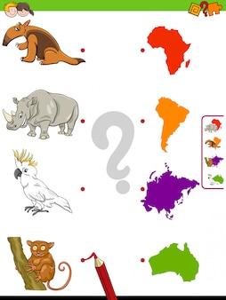 Match dieren en continenten educatief spel voor kinderen