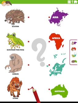 Match diersoorten en continenten educatieve taak