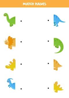Match dinosaurus en zijn staart. logisch spel voor kinderen.