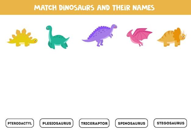 Match dinosaurussen en hun namen. educatief logisch spel voor kinderen.